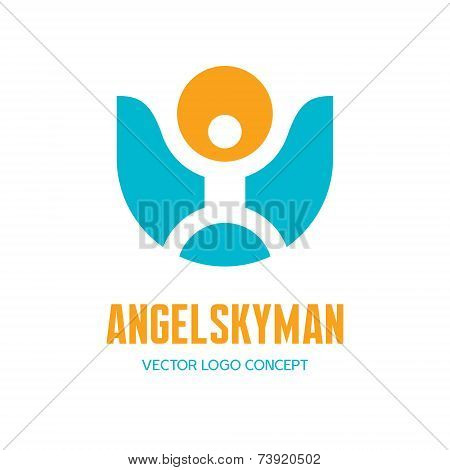 Angel sky man - vector logo sign concept in minimal classic style. Vector logo template.