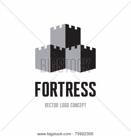 Fortress - creative logo sign concept. Castle tower abstract illustration.