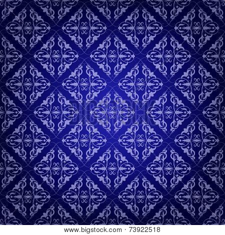 Vintage Damask seamless pattern on blue