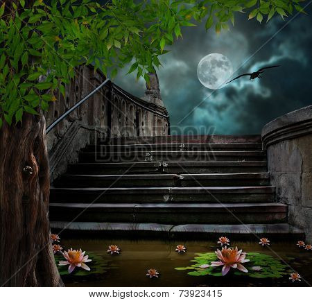 Old Stone Staircase In Celebration Of Halloween On Background Of Moonlit Night