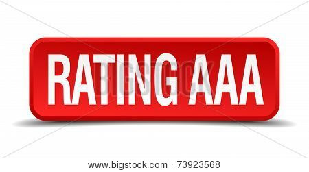 Rating Aaa Red 3D Square Button Isolated On White