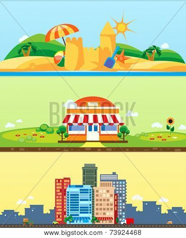 City, market, beach, vector backgrounds flat design