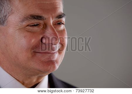 Senior Serene Man Thinking And Self Confident