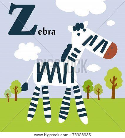 Animal alphabet for the kids:  Z for the Zebra
