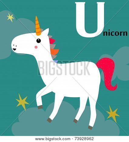Animal alphabet for the kids:  U for the Unicorn