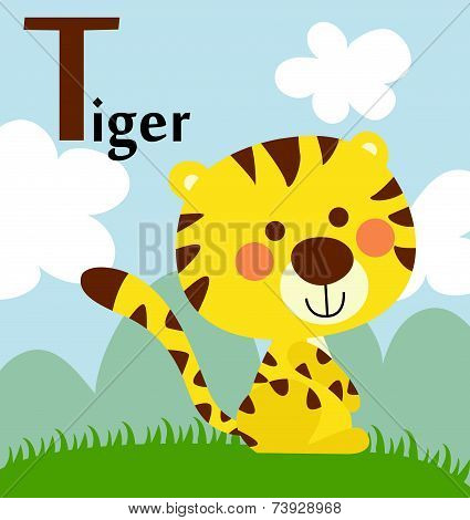 Animal alphabet for the kids:  T for the Tiger