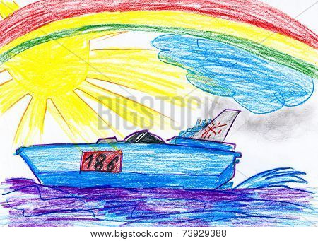modern speedboat. child drawing
