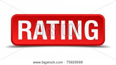 Rating Red 3D Square Button Isolated On White