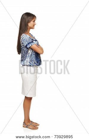 Full length profile of businesswoman