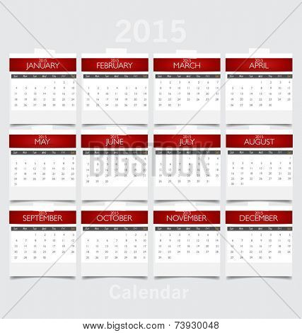 Simple 2015 year calendar. Vector illustration.