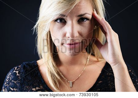 Attractive blond woman concentration