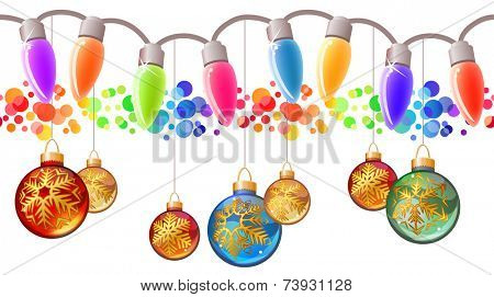 Seamless festive Christmas garland with different glass balls