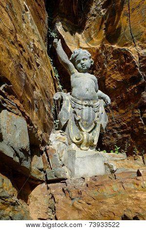 A cherub statue, Portmeirion