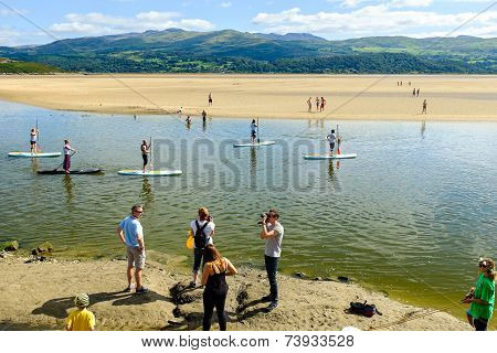 Paddle boarding, River Dwyryd, Portmeirion