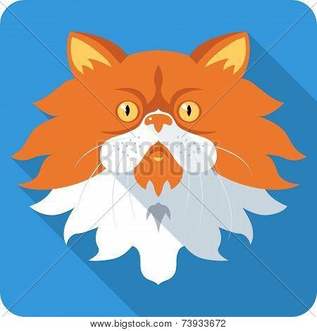 Persian Cat Icon Flat Design