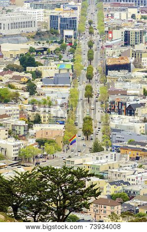 Aerial View Of Market Street, Castro, San Francisco