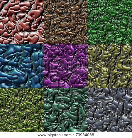 Set Of Metal Bumps Seamless Generated Textures