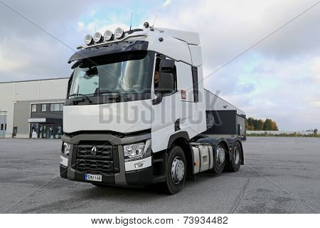 Renault Truck Tractor T480 Driven On A Yard