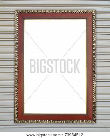 Wood Frame On Metall Door Texture