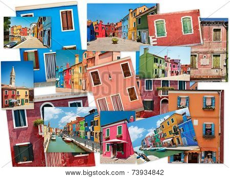 A collage of photos from the island of Burano, Venice, Europe