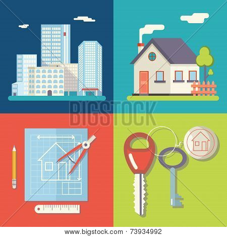 Retro Real Estate Symbols Private House Construction Plan Keys Set City Apartment Icons Trendy Moder
