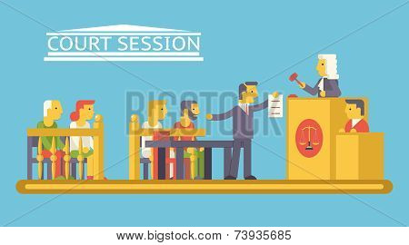 Law Court Justice Scene with Characters Defendant Ludge Lawyer Advocate Trendy Modern Flat Design Te
