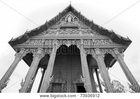 Buddhist temple (B&W)