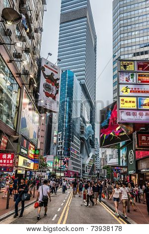 Hong Kong, China - June 6, 2014: people shopping in the streets of Causeway Bay