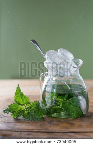 Nettle and freshly made nettle tea