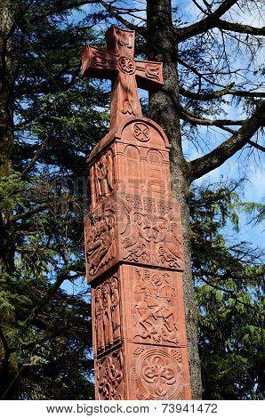 Georgian Cross In Zugdidi,city In The Western Georgian Historical Province Of Samegrelo (mingrelia)