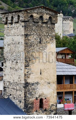 Mestia Fortified Tower, famous Medieval Architectural Landmark, Upper Svaneti, Georgia