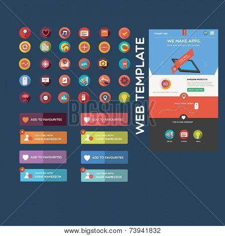 Flat web graphics + web template