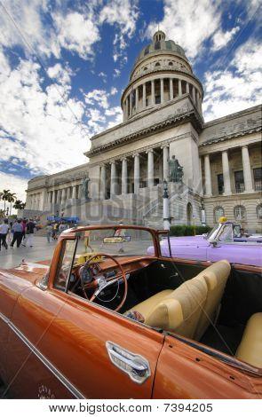 Vintage Car In Front Of Capitol Building In Havana. Dec 2009.