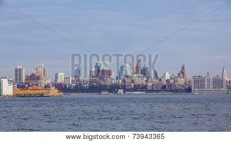 New York City with Manhattan skyline viewed from boat