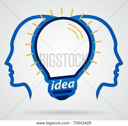 Thinking Head Lamp Illuminating Brain, Unity Of Thought, New Idea