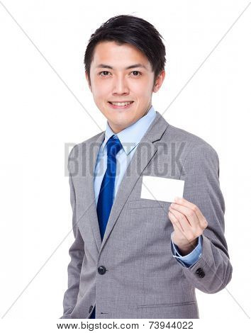 Businessman present with namecard