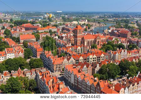 GDANSK, POLAND - 7 JULY 2014: Architecture of old town in Gdansk, Poland. Baroque architecture of the Gdansk is one of the most notable tourist attractions of the city.