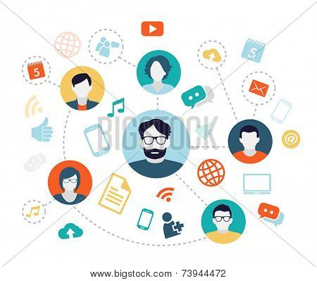 Social media background with people connecting through modern technology devices.