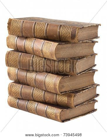 Pile of ancient books isolated on a white background