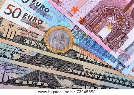 Euros, Dollars And Russian Coin