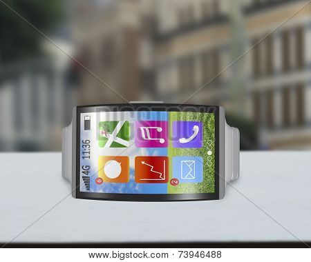 Ultra-lightweight Bent Interface Smartwatch Horizontal With Steel Watchstrap