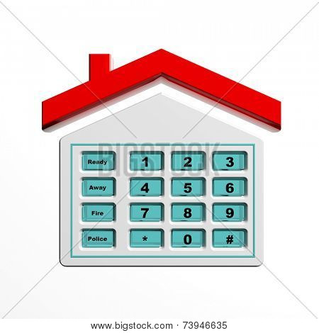 Security numeric pad in house shape symbol isolated