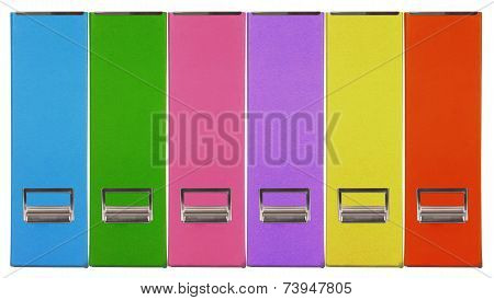 Multiple color magazine grain paper box on white background.