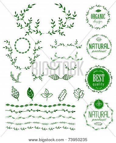 Watercolor set of badges, floral elements, wreaths and laurels
