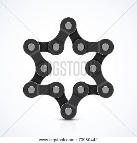Star of David made of chain. Vector.