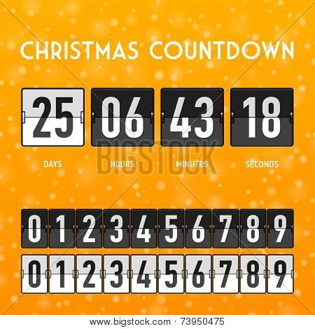 Christmas or New Year countdown timer. Vector.