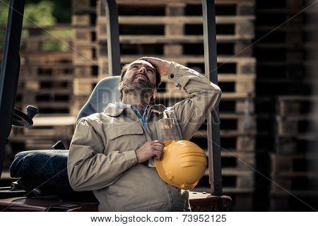 Warehouse worker having a break