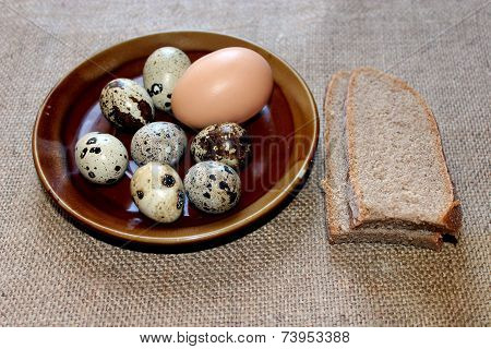 Eggs Of The Quail And Hen With Pieces Of Bread
