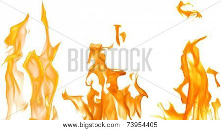 illustration with bright flames on white background
