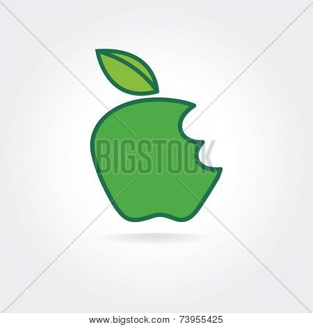 Abstract bitten green apple vector icon concept. Logo template for branding and corporate design
